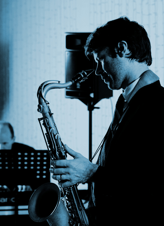 Jazz lounge saxophone and saxophonist for hire - jazz duo, jazz trio and jazz band - Equinox Blue.